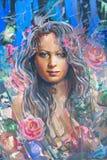 Desenho da menina, pintura Fotos de Stock Royalty Free