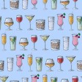 Desenho da mão Cocktail da ilustração Teste padrão sem emenda Imagens de Stock Royalty Free