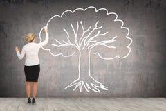 Desenho da mulher de negócio na parede Foto de Stock Royalty Free