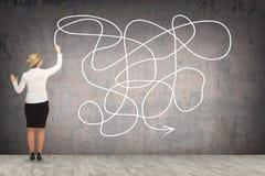 Desenho da mulher de negócio na parede Fotografia de Stock Royalty Free