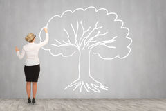 Desenho da mulher de negócio na parede Imagem de Stock Royalty Free