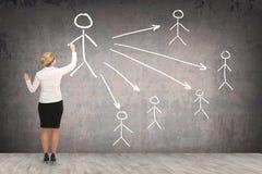 Desenho da mulher de negócio na parede Fotografia de Stock