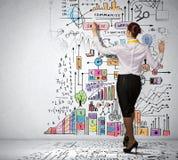 Desenho da mulher de negócios na parede Imagens de Stock