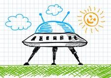 Desenho da nave espacial Imagens de Stock