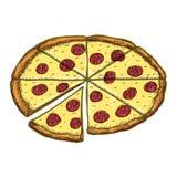 Desenho da pizza do vintage do vetor Ilustração tirada mão do fast food da cor ilustração royalty free
