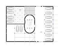 Desenho da planta arquitectónica do CAD. Foto de Stock Royalty Free