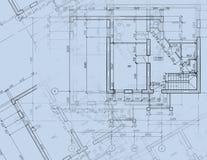 Desenho da planta arquitectónica do CAD do modelo Imagens de Stock