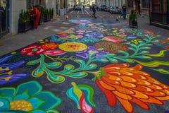 Desenho da rua no asfalto, Timisoara, Romênia Fotografia de Stock Royalty Free
