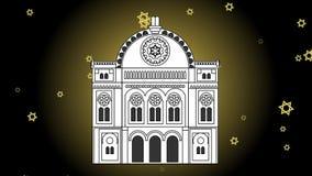 Desenho da silhueta da sinagoga que aparece no fundo preto na área de incandescência, estrelas de David de voo Animação video com filme