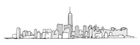 Desenho da skyline de New York City ilustração stock