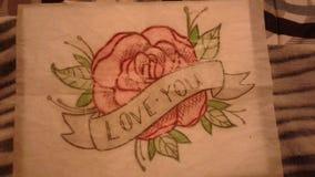 Desenho da tatuagem do amor fotos de stock royalty free