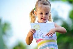 Desenho da terra arrendada da criança Fotografia de Stock
