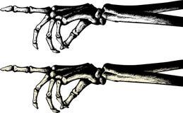 Desenho da tinta de uma mão de esqueleto apontando Fotografia de Stock Royalty Free