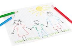 Desenho das crianças da família feliz Foto de Stock