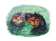 Desenho de beijar o hippopotamus ilustração stock