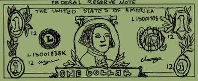 Desenho de Bill de dólar Fotos de Stock