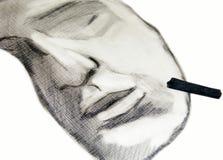 Desenho de carvão vegetal Fotografia de Stock Royalty Free