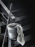 Desenho de carvão vegetal da cubeta e do pano Fotografia de Stock Royalty Free