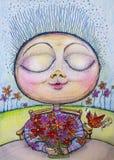 Desenho de cheiro dos desenhos animados da criança da flor feliz Fotos de Stock Royalty Free
