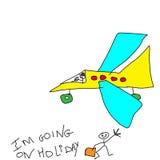 Desenho de ChilChild, eu estou indo no feriado. Imagem de Stock Royalty Free