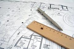 Desenho de construção fotografia de stock