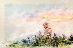 Desenho de Digitas da Buda gigante de Po Lin Monastery na ilha de Lantau Hong Kong imagem de stock