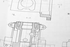 Desenho de engenharia Fotos de Stock Royalty Free