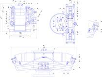 Desenho de engenharia do equipamento industrial Imagem de Stock