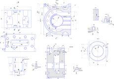 Desenho de engenharia do equipamento industrial Fotos de Stock Royalty Free