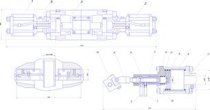 Desenho de engenharia do equipamento industrial Fotografia de Stock Royalty Free