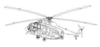 Desenho de engenharia do helicóptero ilustração stock