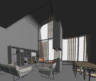 Desenho de esboço arquitetónico Imagem de Stock Royalty Free