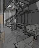 Desenho de esboço arquitetónico Imagem de Stock