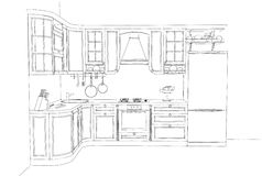 Desenho de esboço da cozinha clássica 3d interior ilustração do vetor