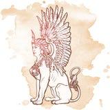 Desenho de esboço da esfinge de assento isolado no fundo do grunge Imagens de Stock Royalty Free