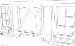 Desenho de esboço de detalhes clássicos da cozinha ilustração stock