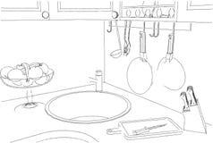 Desenho de esboço de detalhes clássicos da cozinha ilustração royalty free