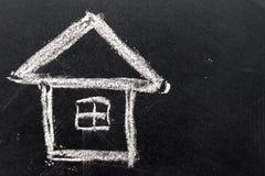 Desenho de giz branco como a forma da casa no fundo preto da placa imagem de stock royalty free