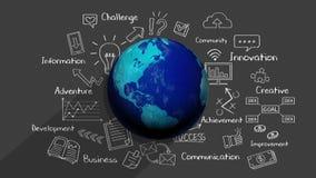 Desenho de giz, conceito crescente do negócio global e palavra-chave do negócio, ilustração financeira 2 filme