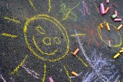 Desenho de giz da criança Fotografia de Stock