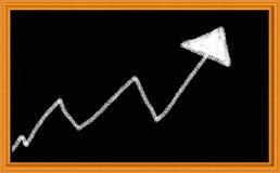 Desenho de giz da seta ascendente fotos de stock