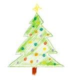 Desenho de giz de uma ?rvore de Natal Fotos de Stock Royalty Free