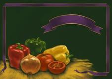 Desenho de giz do alimento e das bebidas no quadro-negro Fotos de Stock Royalty Free