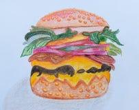Desenho de Hamberger no fundo do Livro Branco Olhe bonito e saboroso Imagens de Stock