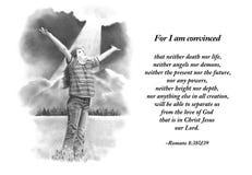 Desenho de lápis da menina com verso da Bíblia Imagens de Stock Royalty Free