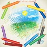 Desenho de lápis da paisagem e da cor do verão Fotos de Stock Royalty Free