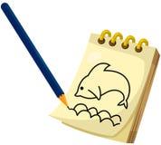 Desenho de lápis no bloco de notas Fotografia de Stock Royalty Free