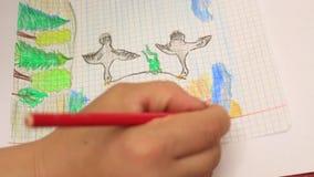 Desenho de lápis no papel alinhado video estoque