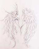 Desenho de lápis no papel velho Angel Wings ilustração royalty free