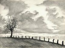 Desenho de lápis da paisagem Imagens de Stock Royalty Free